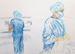 NURSES SCRUBBING AND SETTING UP THE SURGICAL TROLLEY | 32.9 x 48.3cms | Coloured Pencil on Paper | 2014 | SOLD