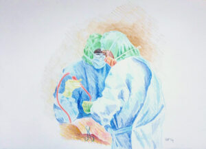 HIP REPLACEMENT SURGERY 3 | 32.9 x 48.3cms | Coloured Pencil on Paper | 2014 | SOLD