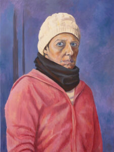 Self portrait paint of Helen Purdie , wearing a cream hat, a black scarf and a pink jumper.